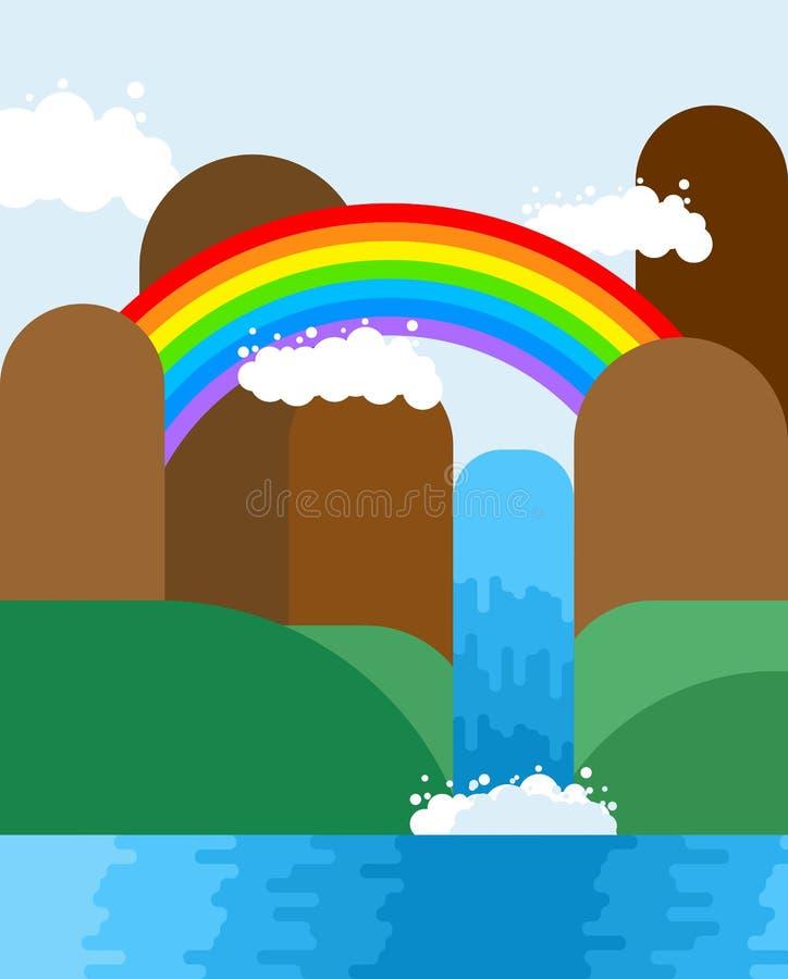 Waterval en regenbooglandschap De achtergrond van de aard Bergen royalty-vrije illustratie