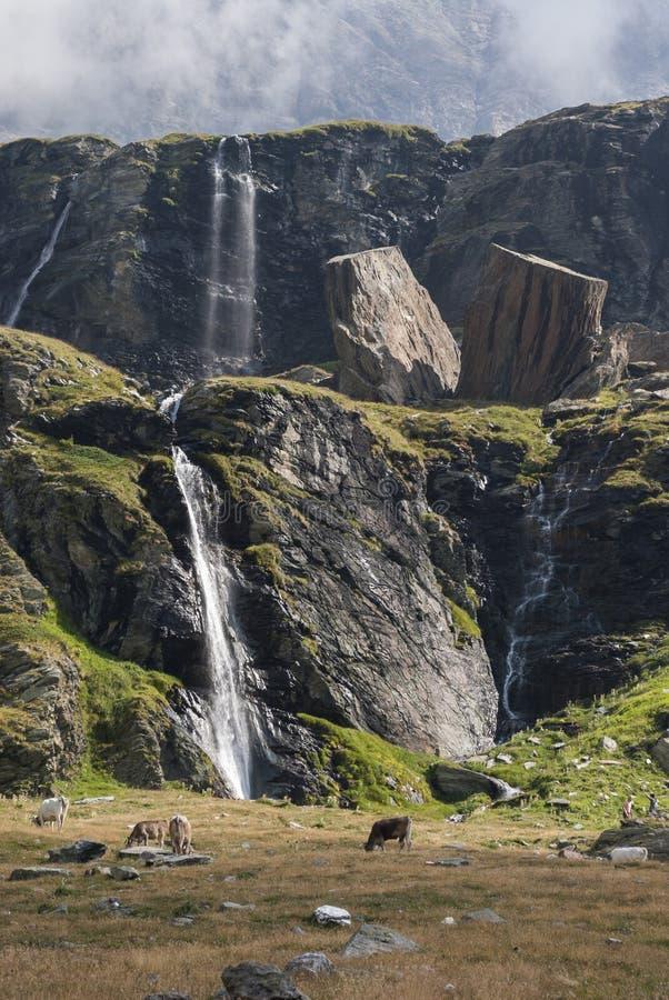 Waterval en reusachtige steenblokken royalty-vrije stock afbeelding