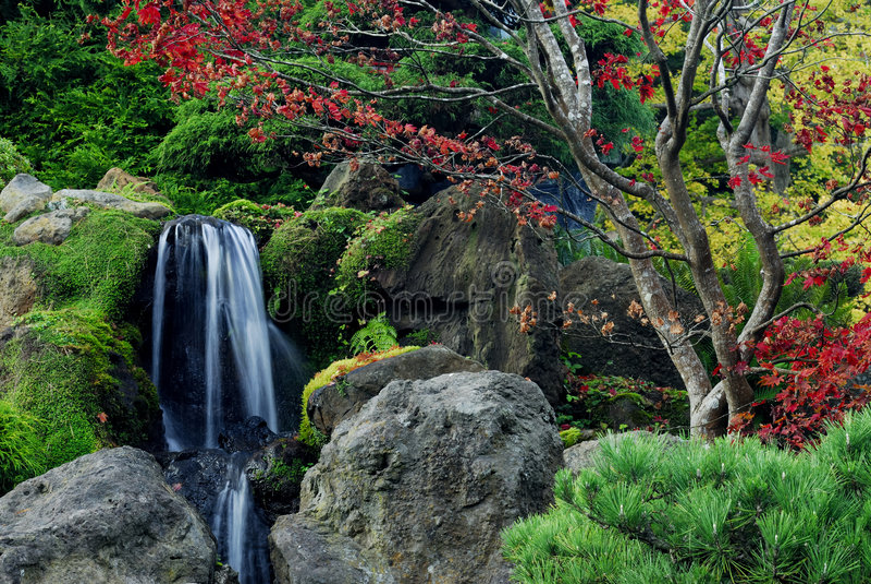 Waterval en Rotsen stock fotografie
