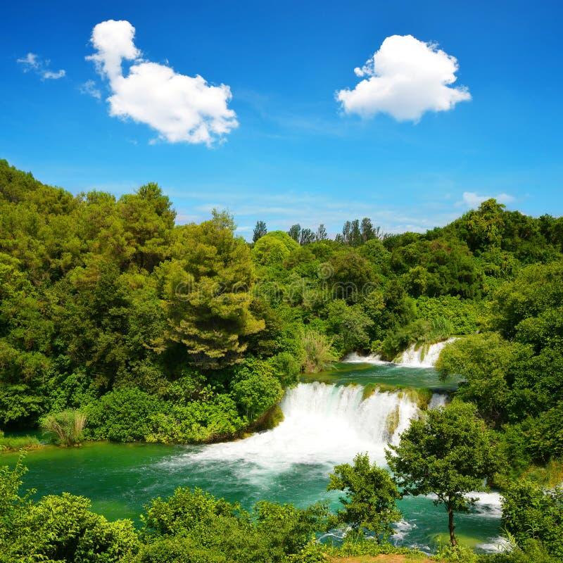 Waterval in het Nationale Park van Krka, Kroatië royalty-vrije stock foto's