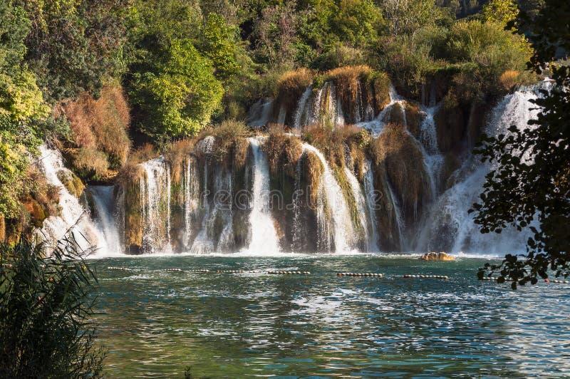 Waterval, het Nationale Park van Krka, Kroatië royalty-vrije stock afbeelding