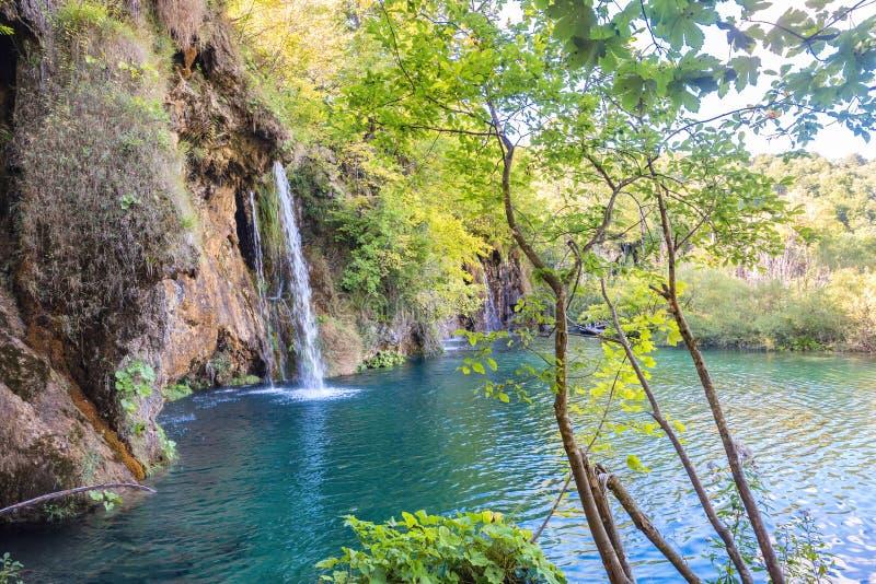 Waterval in het Nationale Park van Meren Plitvice Kroatië, Europa stock foto