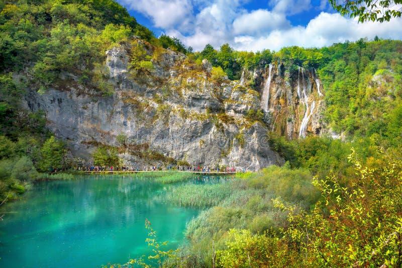 Waterval in het Nationale Park van Meren Plitvice Kroatië, Europa royalty-vrije stock foto's