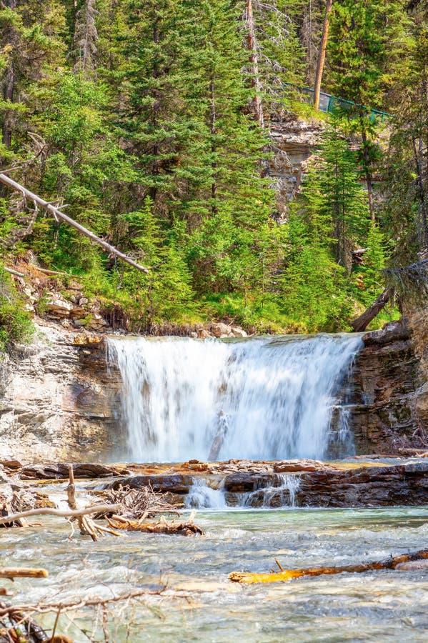 Waterval in Johnston Canyon in het Nationale Park van Banff royalty-vrije stock foto