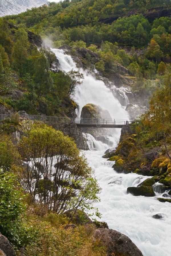 Waterval Kleivafossen in bergen van Noorwegen royalty-vrije stock afbeelding