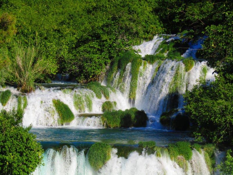 Waterval in Krka nationaal park Kroatië stock fotografie