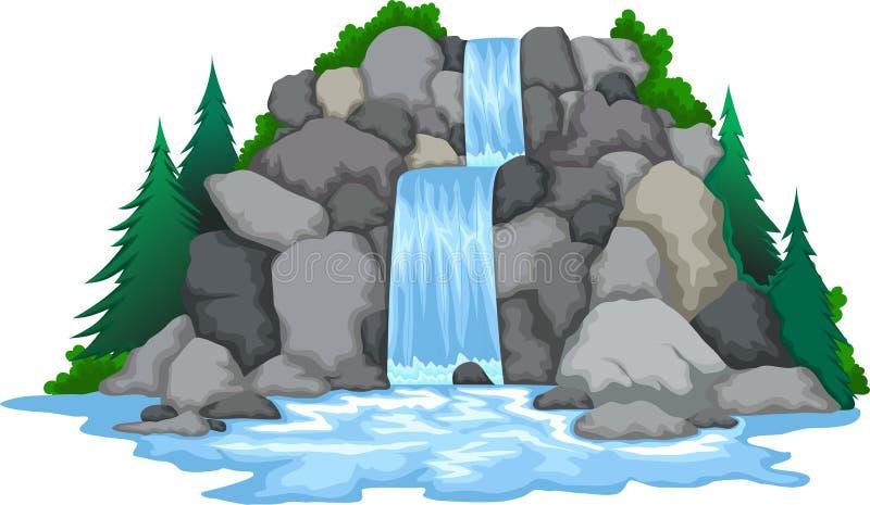 Waterval met de achtergrond van de landschapsmening royalty-vrije illustratie