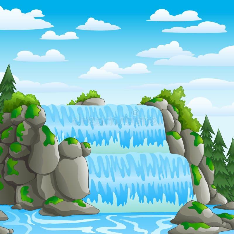 Waterval met de achtergrond van de landschapsmening stock illustratie