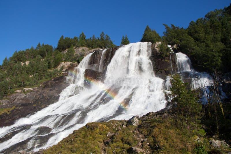 Waterval met regenboog stock fotografie