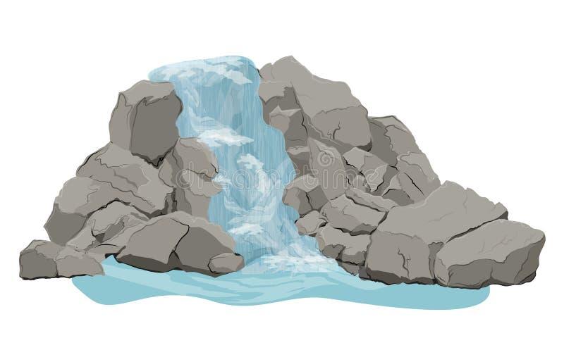 Waterval met stromen van water, rots en stenen royalty-vrije illustratie