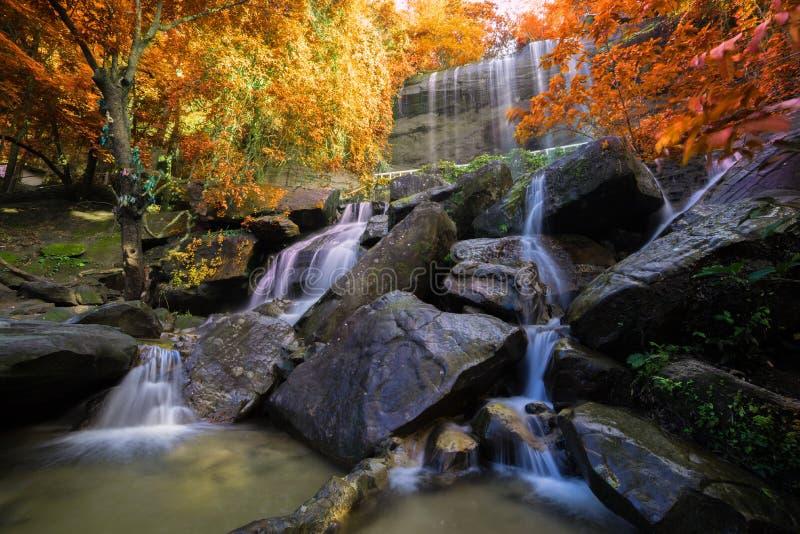 Waterval mooi in regenwoud in Soo Da Cave Roi et Thailan stock foto