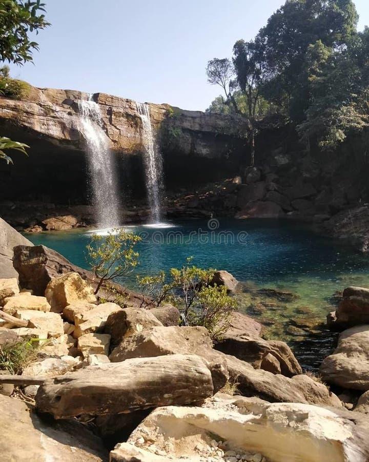 Waterval, Mooie Aard, Ontzagwekkend Beeld, India stock foto