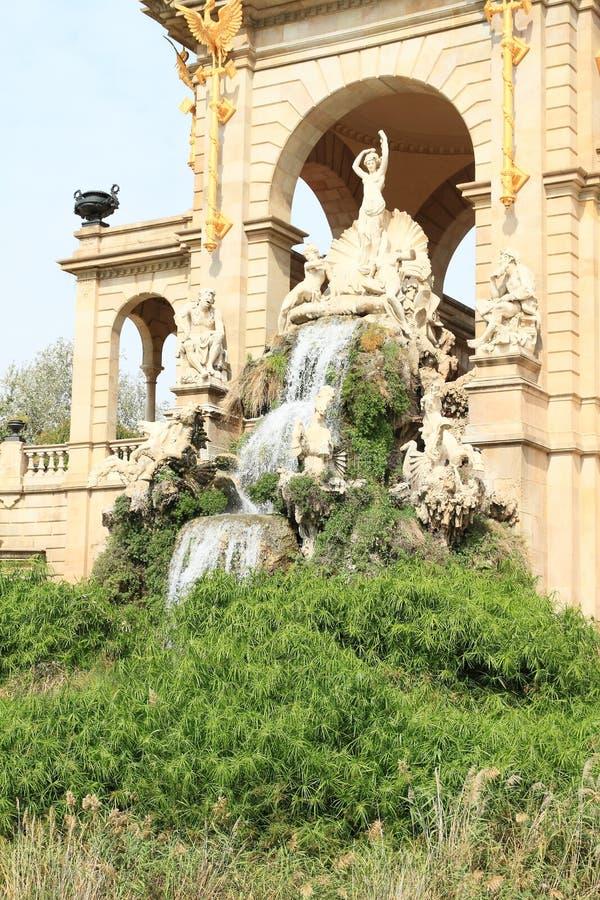 Waterval op Cascada Monumentaal in Barcelona stock foto's