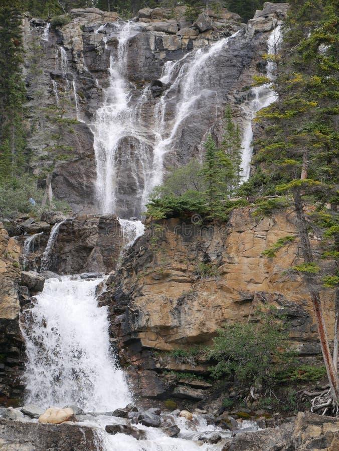 Waterval op verscheidene niveaus in Jasper National Park stock foto's