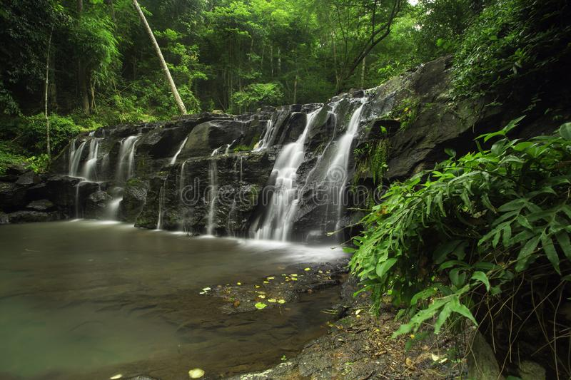 Waterval in tuin, Salmon Nation Park, Thailand stock foto