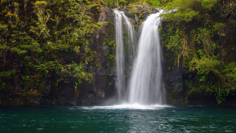 Waterval van Petrohue-rivier in het merengebied Chili, dichtbij Puer royalty-vrije stock foto's