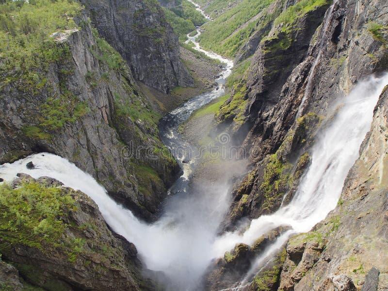 Waterval Voringfossen, de grootste waterval in Noorwegen royalty-vrije stock afbeelding