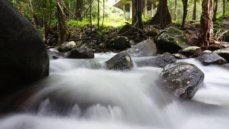 Watervallen in lang blootstellingsbeeld royalty-vrije stock afbeeldingen