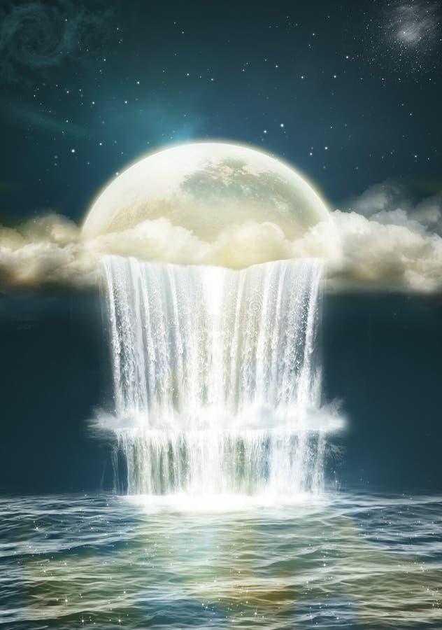Watervallen van fantasie royalty-vrije illustratie