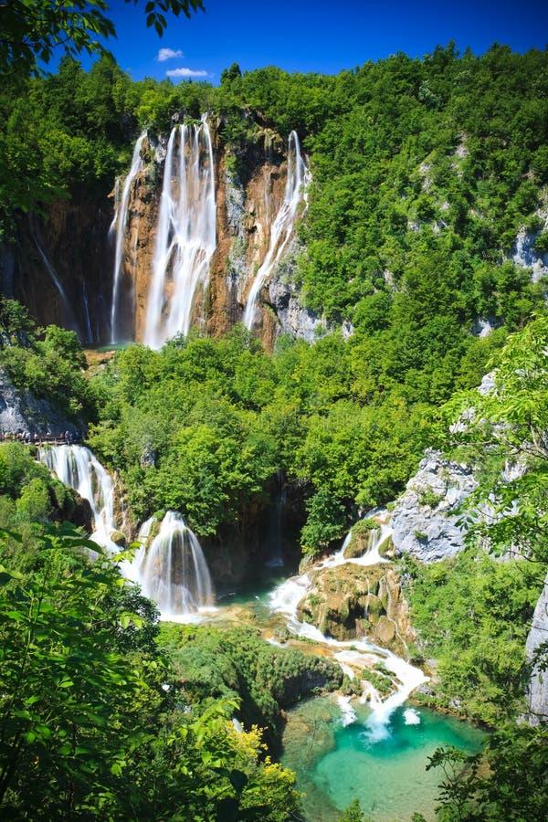 Watervallen van het Park van Plitvice de Nationale, Kroatië stock afbeeldingen