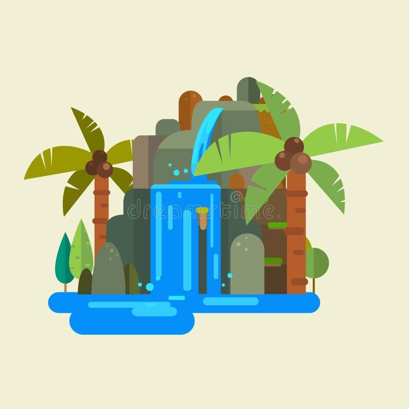 Watervalvector royalty-vrije illustratie