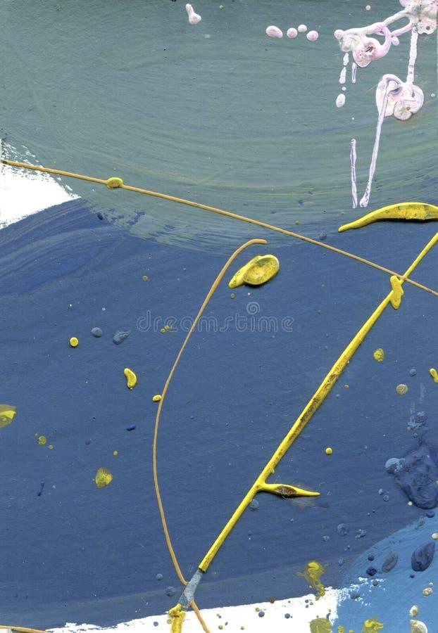 Waterverf abstract gekwetst canvas Woestijneffect overhandigen de acrylplonsen - gemaakte verf gele en blauwe lijnentextuur Blauw vector illustratie