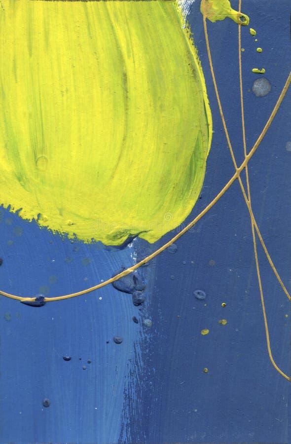 Waterverf abstract gekwetst canvas Woestijneffect overhandigen de acrylplonsen - gemaakte verf gele en blauwe lijnentextuur Blauw royalty-vrije illustratie