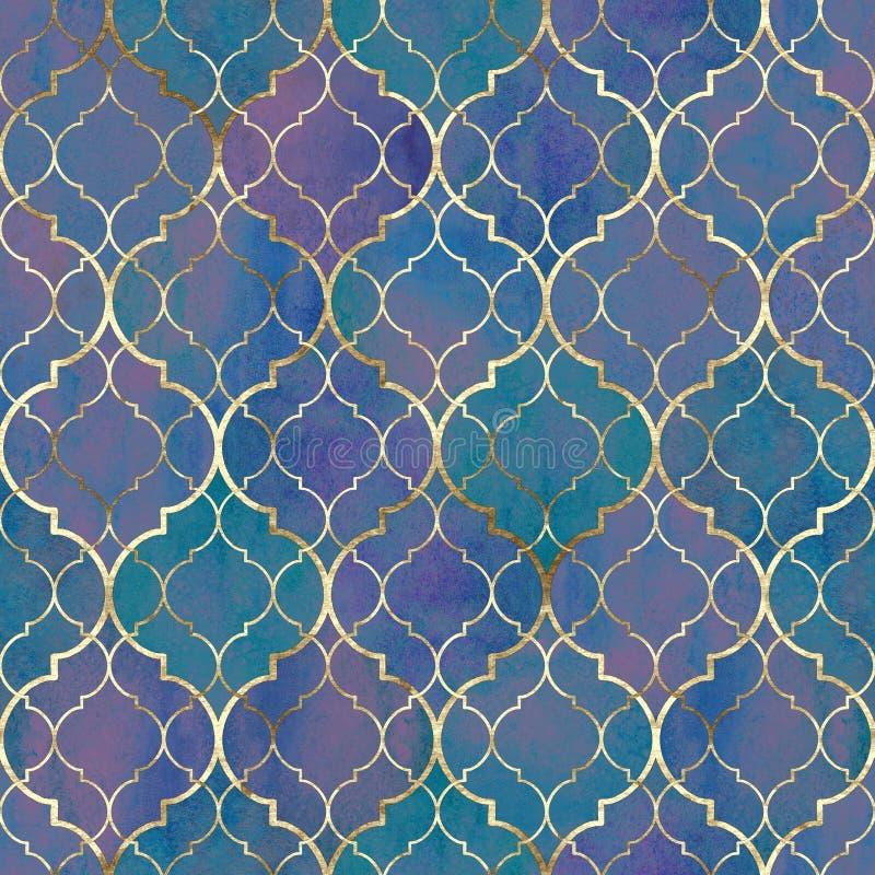 Waterverf abstract geometrisch naadloos patroon Arabische tegels Caleidoscoopeffect Textuur van het Watercolour de uitstekende mo royalty-vrije illustratie