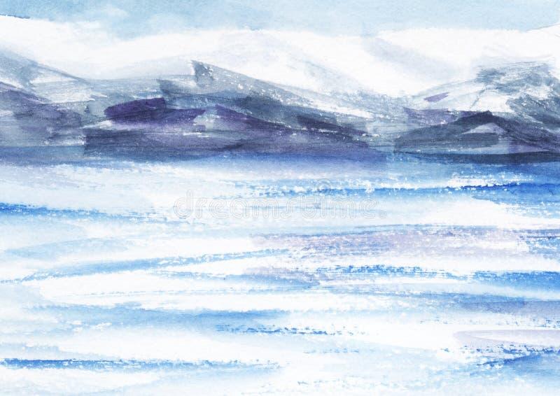 Waterverf abstract landschap Ijsgebieden, koude bergen lichte bewolkte hemel Hand op een document illustratie wordt getrokken die stock illustratie