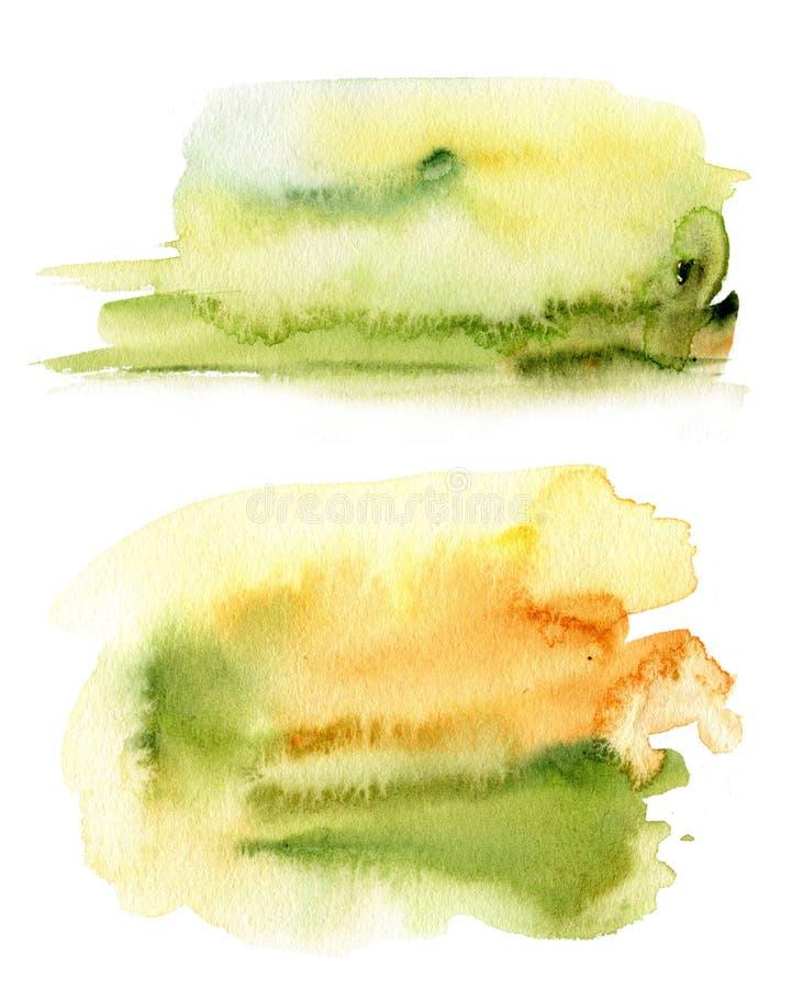 Waterverf abstracte gele en groene textuur Hand geschilderde kleurenachtergrond Dalingsillustratie voor ontwerp, druk of royalty-vrije stock afbeelding