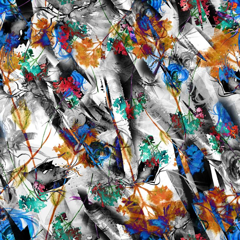 Waterverf abstracte naadloze achtergrond, kaart, patroon, vlek, plons van verf, vlek, scheiding Abstract bloemsilhouet stock illustratie