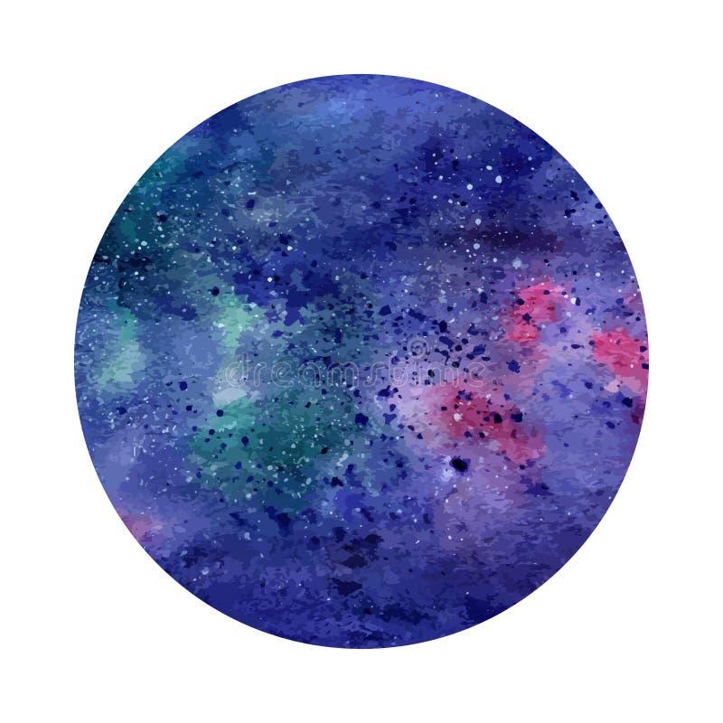 Waterverf abstracte ruimtecirkel Kosmische achtergrond Kan voor groetkaarten, banners worden gebruikt, logotypes vector illustratie