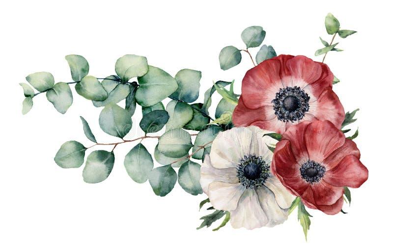 Waterverf asymmetrisch boeket met anemoon en eucalyptus De hand schilderde rode en witte bloemen, eucalyptusbladeren en royalty-vrije illustratie