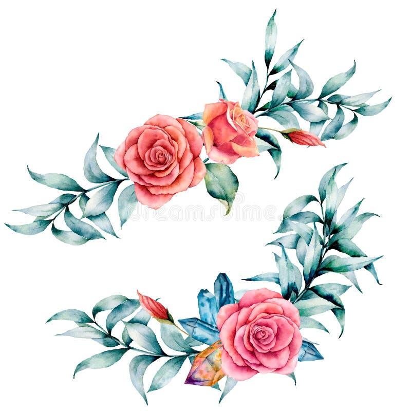 Waterverf asymmetrisch boeket met roze en eucalyptus De hand schilderde rode bloemen, geïsoleerde eucalyptusbladeren en tak royalty-vrije illustratie