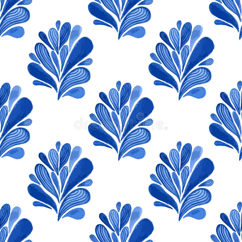Waterverf blauw bloemen naadloos patroon met bladeren Vectorachtergrond voor textiel, behang, het verpakken of stoffenontwerp vector illustratie
