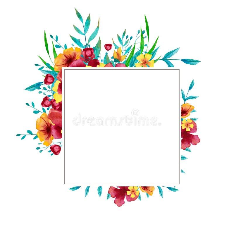 Waterverf blauw, rood en geel vierkant kader met bloemen, bladeren en takken vector illustratie