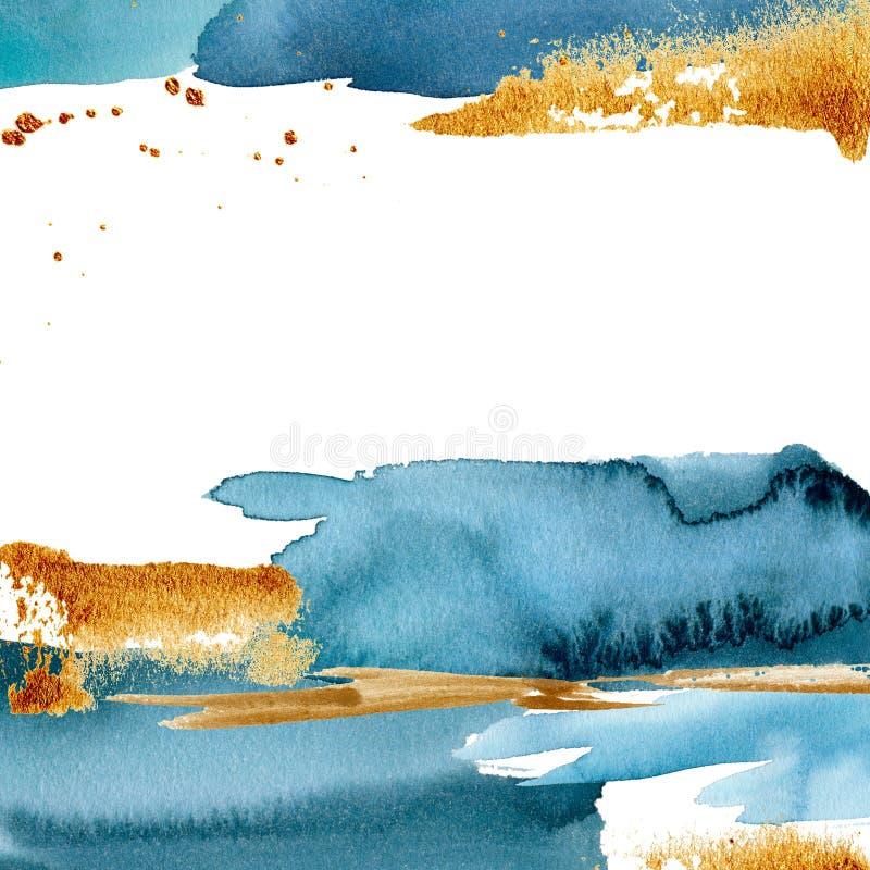 Waterverf blauwe abstracte kaart met gouden textuur De hand schilderde mooie malplaatjegrens Mariene illustratie voor ontwerp stock illustratie