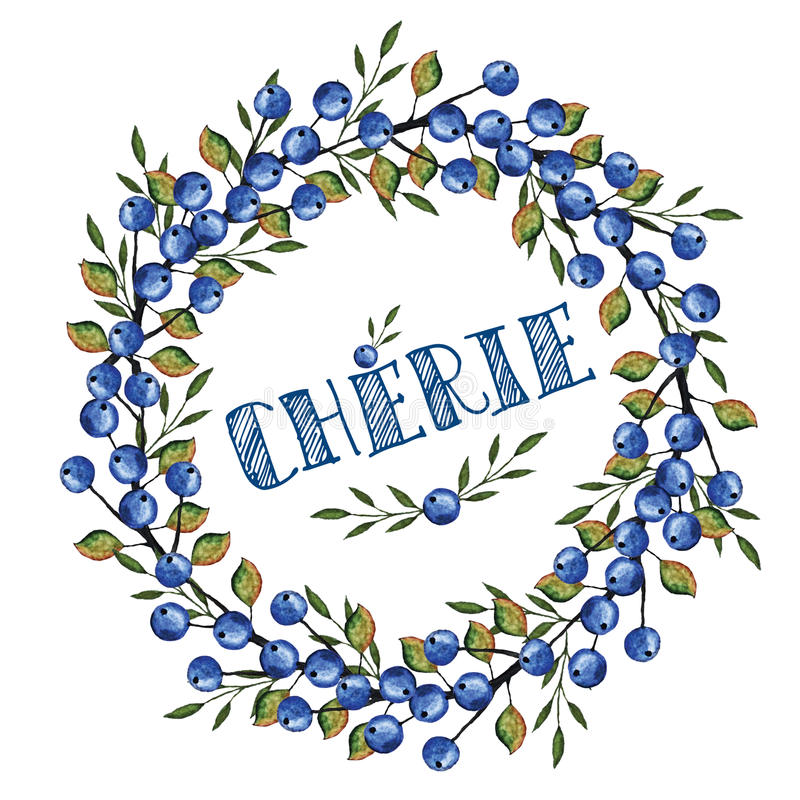 Waterverf Blauwe berrie, takkenkroon Schat in het Frans vector illustratie