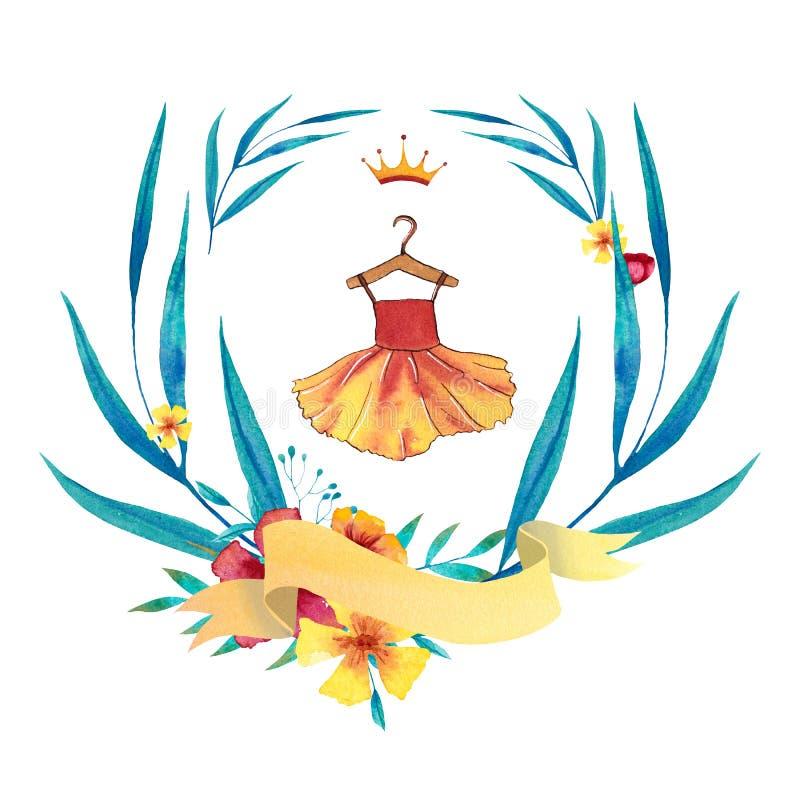 Waterverf blauwe en gele kroon met kleding, banner, bloemen, bladeren en takken vector illustratie