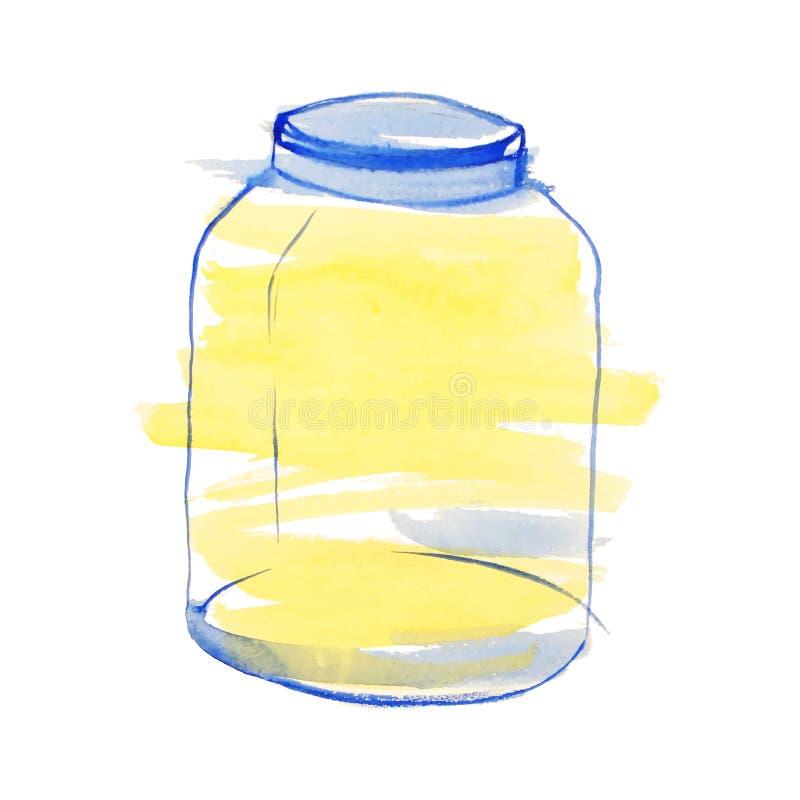 Waterverf blauwe en gele kruik stock illustratie