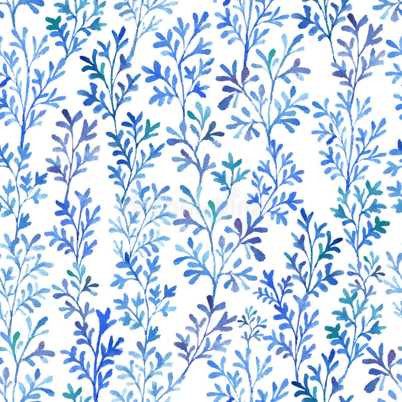 Waterverf blauwe flora stock foto