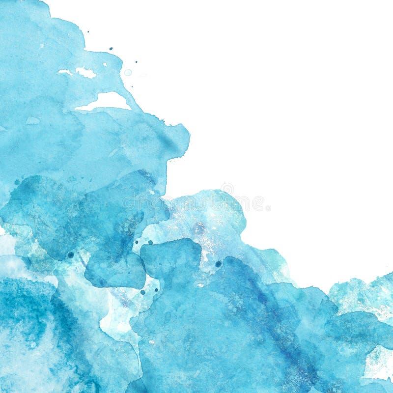 Waterverf blauwe overzeese textuur met vloeibare waterverfverf op witte achtergrond Abstracte hand geschilderde banner stock illustratie