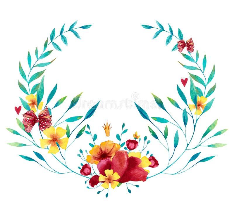 Waterverf blauwe, rode en gele kroon met bloemen, bladeren en takken stock illustratie