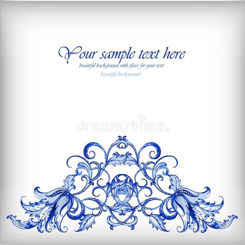 Waterverf blauwe vectorachtergrond Gzheldetails royalty-vrije illustratie