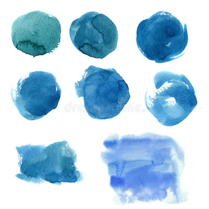 Waterverf blauwe vlek Hand geschilderde abstracte die banner op witte achtergrond wordt geïsoleerd Illustratie voor ontwerp, druk royalty-vrije illustratie