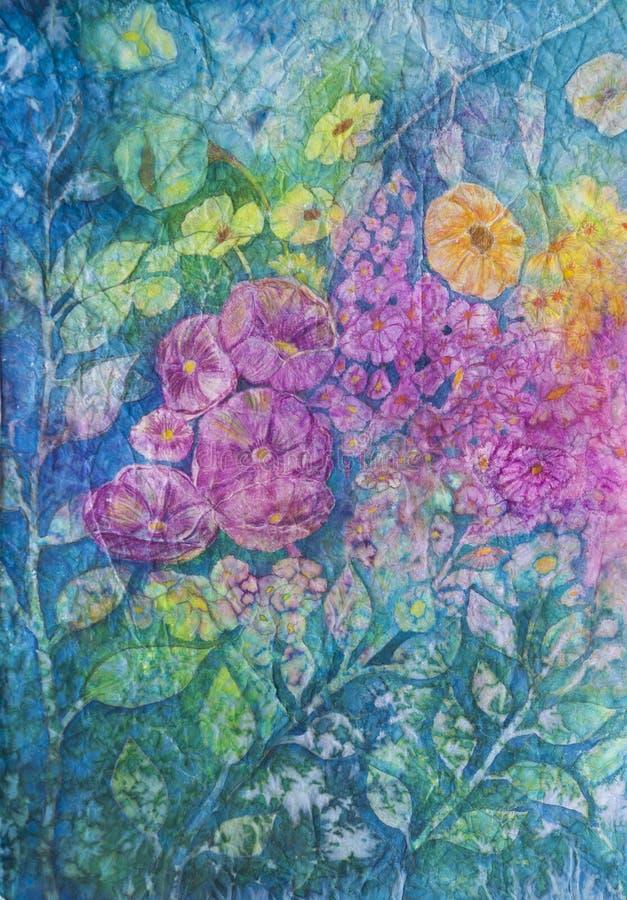 Waterverf: Bloemen in Bloei stock afbeelding