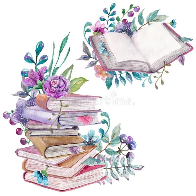 Waterverf bloemen en aardelementen met mooie oude boeken vector illustratie