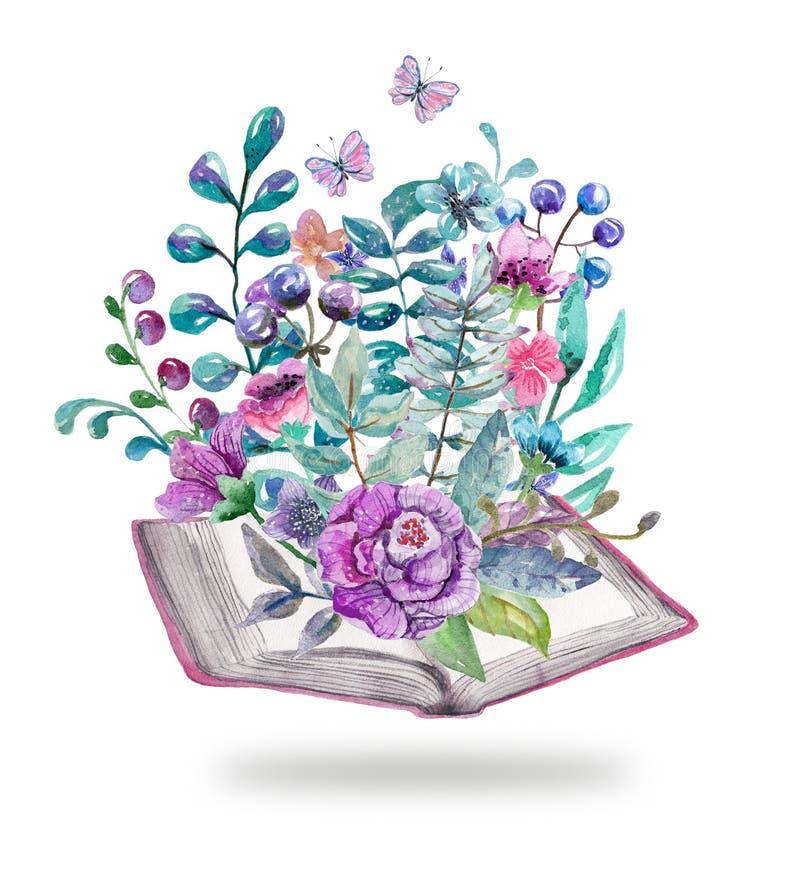 Waterverf bloemen en aardelementen met mooie oude boeken royalty-vrije illustratie