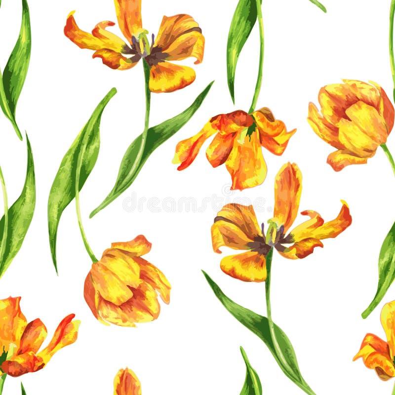 Waterverf bloemen naadloos patroon royalty-vrije illustratie