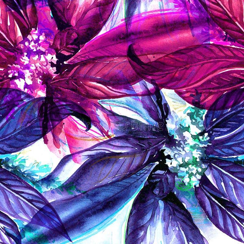 Waterverf bloemen naadloos patroon vector illustratie